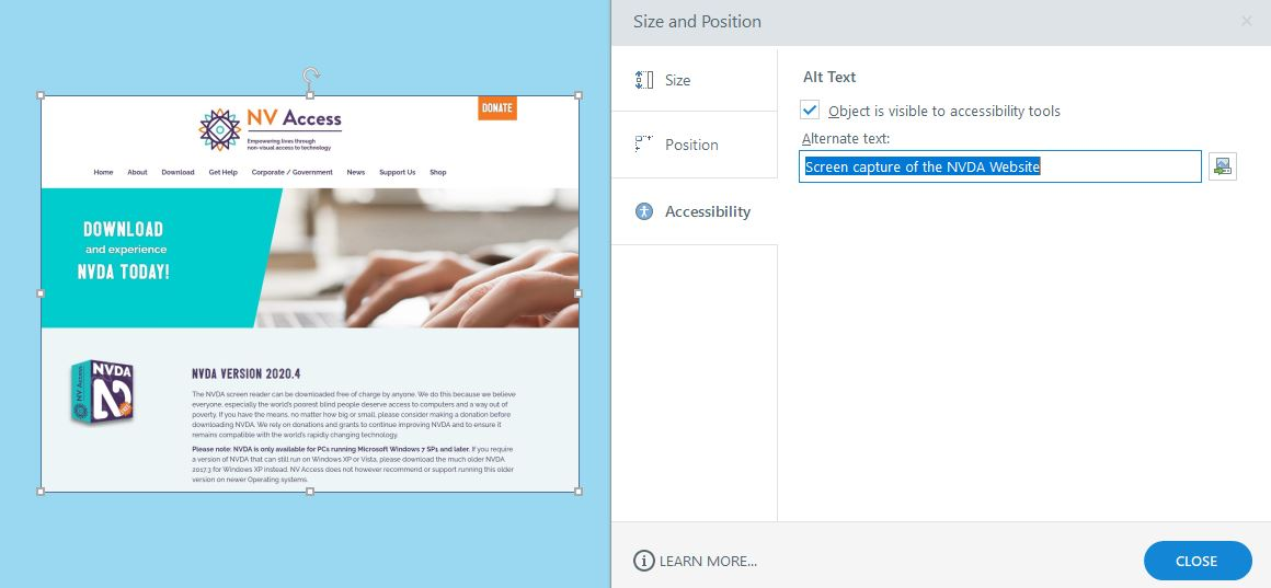 Adding alt text to an image in Articulate Storyline.
